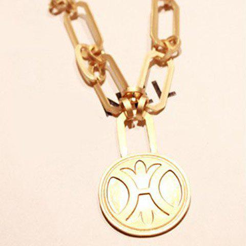 Simple Style Embellished Round Medal Shape Pendant Necklace - AS THE PICTURE