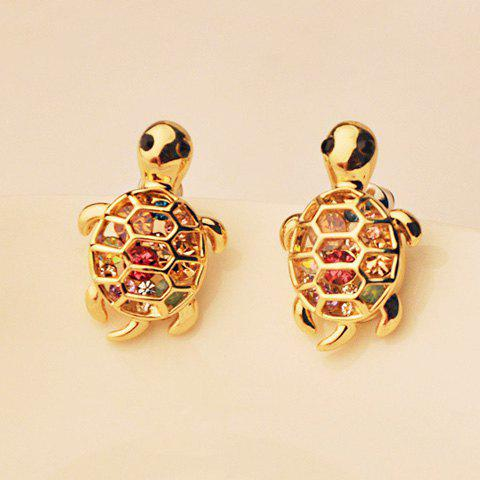 Pair of Cute Rhinestone Decorated Tortoise Shape Earrings For Women