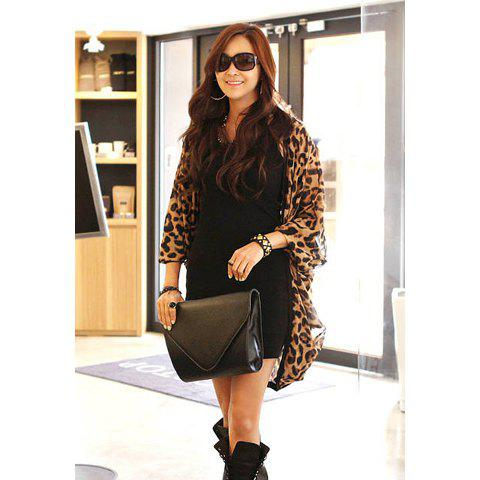 Women's Long Sleeves Fashional Easy Matching Leopard Print Cardigan - LEOPARD M