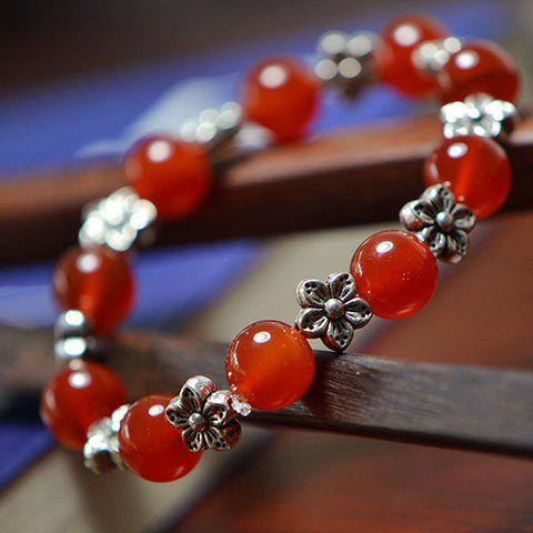 Retro Style Embellished Red Agate Beads and Flower Decorated Bracelet For Women