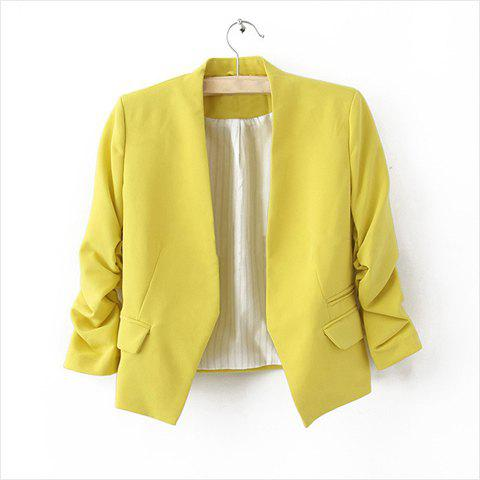 Women's Cute Candy Color Faux Pocket Embellished Puff Sleeve Blazer - YELLOW M