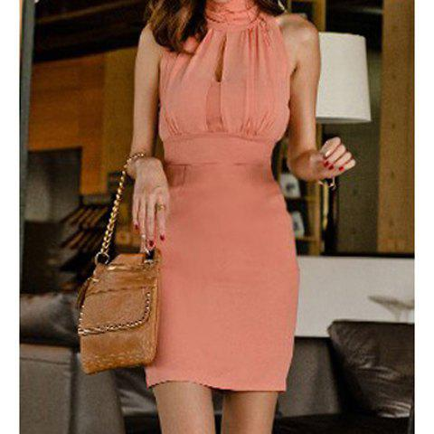 Sexy Keyhole Neckline Solid Color Openwork Design Cotton Blend Women's Party Dress - PINK ONE SIZE
