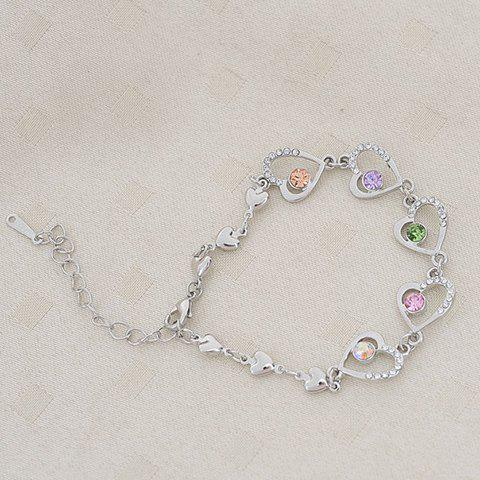 Chic Rhinestoned Sweetheart Embellished Alloy Bracelet For Women -  COLORMIX