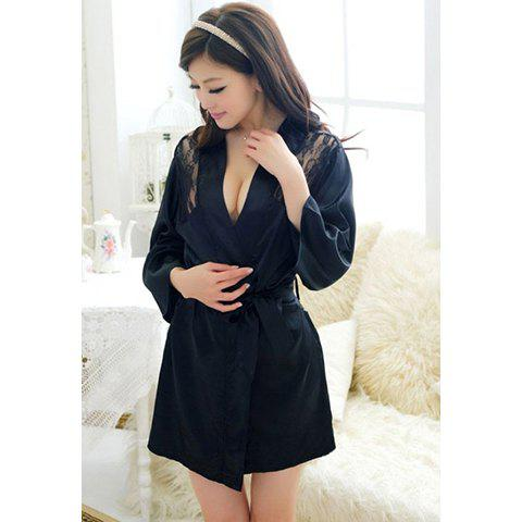 Sexy Style See-Through Lace Splicing 3/4 Sleeves Lace V-Neck Women's Sleepwear