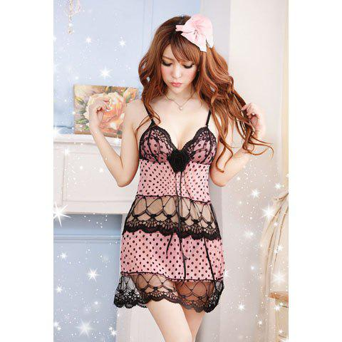 Women's Sexy Polka Dot Print Lace Splicing Babydoll - PINK ONE SIZE