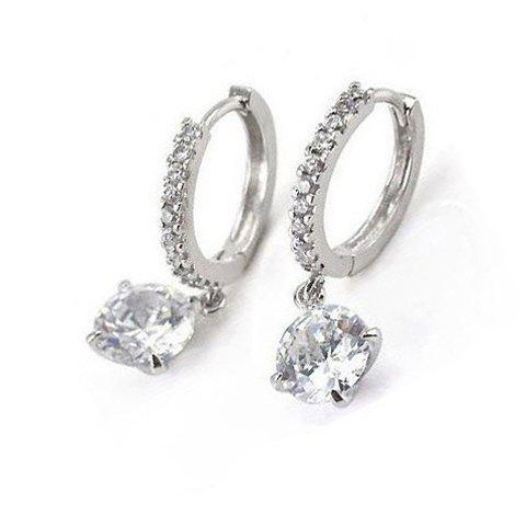 Pair of Embellished Rhinestone Decorated Round Pendant Hoop Earrings - SILVER