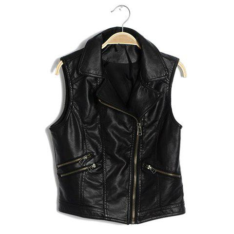 Zipper Asymmetric Faux Leather Lapel Collar Sleeveless Fashionable Style Women's Vest - BLACK M