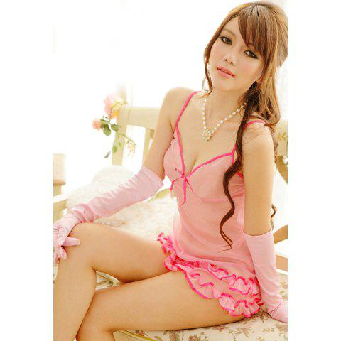 Women's Alluring Low-Cut Ruffled See-Through Baby Dolls - PINK ONE SIZE