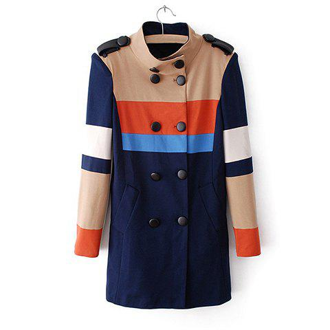 Color Block Noble Style Polyester Long Sleeves Stand Collar Double-Breasted Women's Coat - AS THE PICTURE XS