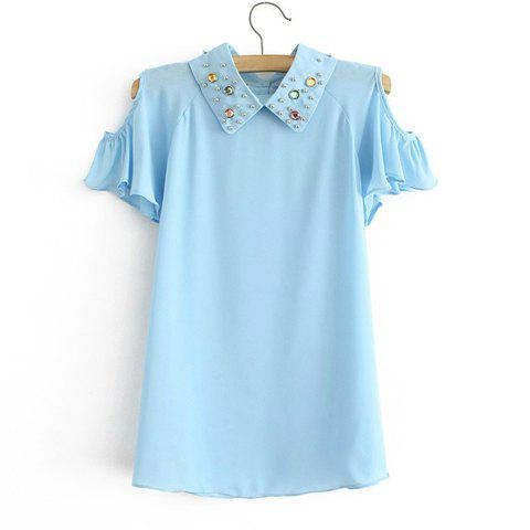 Women's Fashional Solid Color Off-The-Shoulder Beading Short Sleeves Blouse - LIGHT BLUE ONE SIZE