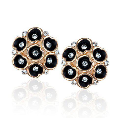 Pair of Numerous Embellished Morning Glory Decorated Stud Earrings - AS THE PICTURE