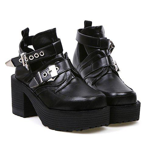 New Arrival Buckle and Square Toe Design Boots For Women - BLACK 36