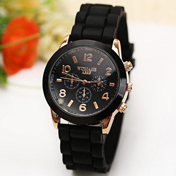 WoMaGe Quartz Watch 6 Numbers and Rectangles Indicate Rubber Watch Band for Women - Coffee - BLACK