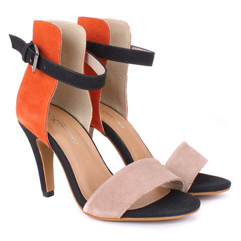 New Arrival Color Block and Stiletto Heel Design Sandals For Women - JACINTH 38