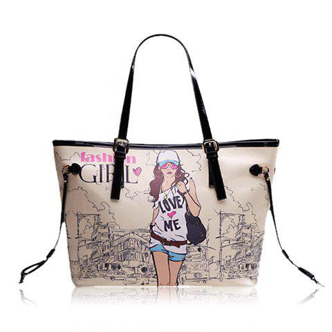 New Arrival Beauty Print and PU Leather Design Shoulder Bag For Women - APRICOT