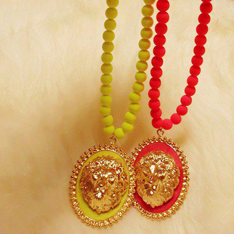 Chic Style Lion Head Round Pendant Sweater Chain Necklace - COLOR ASSORTED