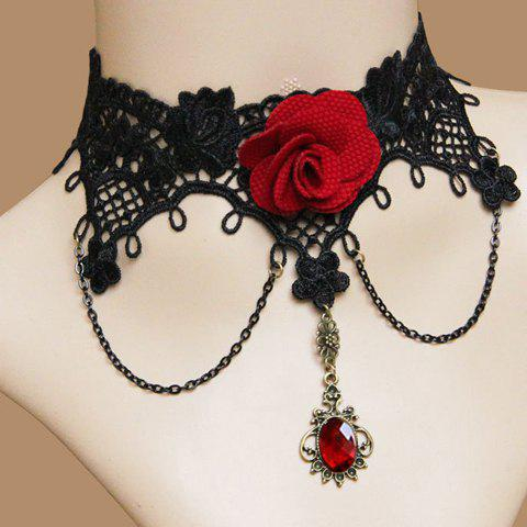 Retro Faux Gem Flower Decorated Necklace - AS THE PICTURE