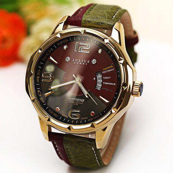 Julius Quartz Watch with Numbers Strips Dots Indicate Leather Watch Band for Men - GREEN