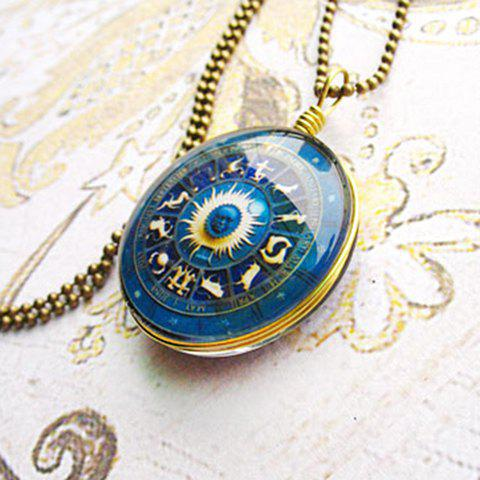 Fashion Constellation Print Glass Pendant Sweater Chain Necklace For Women - AS THE PICTURE