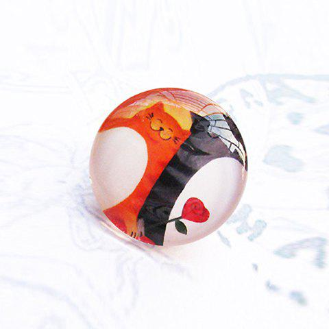 Sweet Style Cute Cartoon Cat Embellished Round Brooch - COLOR ASSORTED