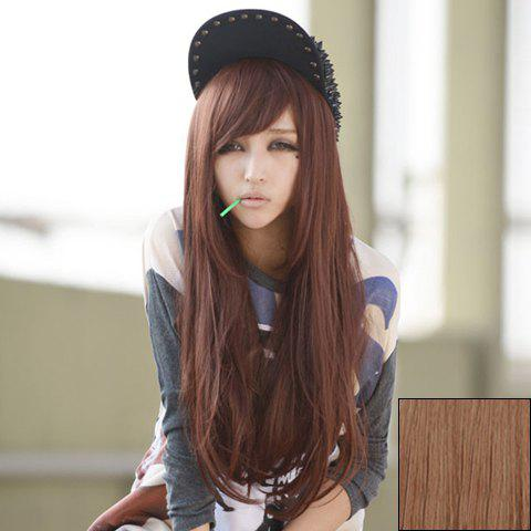 Fashion Side Bang Fluffy Long Straight Synthetic Wig For Women - AS THE PICTURE