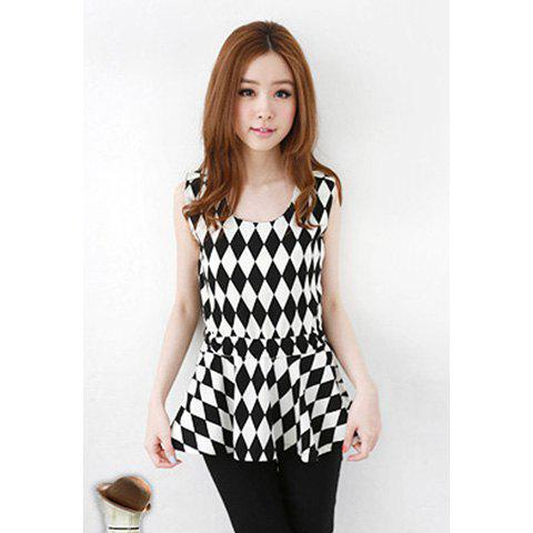 Sweet Scoop Neck Tie-Up Check Sleeveless Rayon Blouse For Women - BLACK ONE SIZE