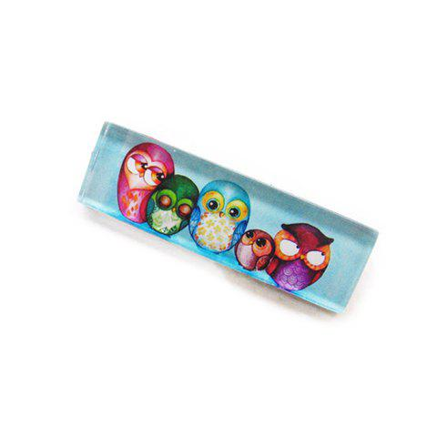 Fresh Style Colored Night Owl Family Print Rectangle Brooch For Women - BLUE