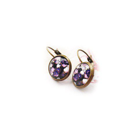 Pair of Exquisite Forest Style Colored Print Round Earrings For Women - PURPLE