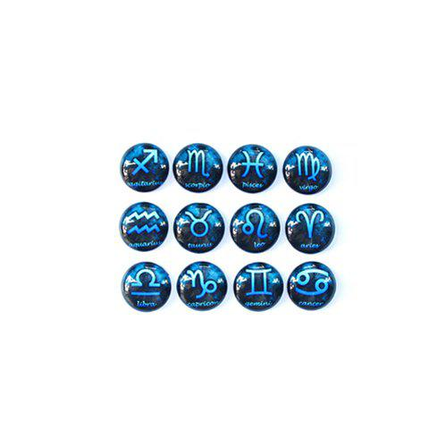 Pair of Exquisite Blue Constellation Sign Crystal Round Stud Earrings For Women