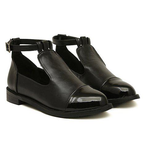 New Arrival Patent Leather Toe and Buckle Design Flat Shoes For Women - BLACK 38
