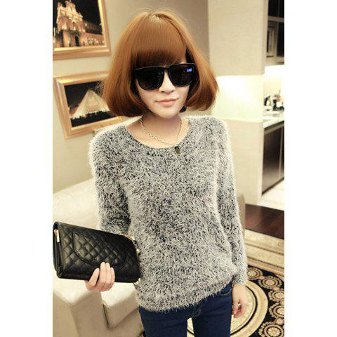 Women's Long Sleeves Fashional Fluffy Loose Fit Knitting Sweater - AS THE PICTURE ONE SIZE