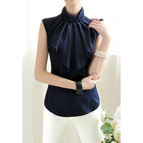 917faa11fe315 Solid Color Chiffon Elegant Style Sleeveless Stand Collar Bow Tie Women s  Blouse - NAVY M