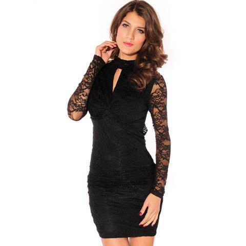 Women's Polyester Solid Color Lace Embroidered See-through Hollow Out Backless Beam Waist Packet Buttock Stylish Short Black Dress - BLACK ONE SIZE