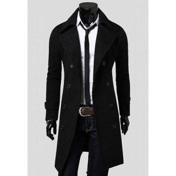 Fashionable Casual Style Long Sleeves Solid Color Slimming Double Breasted Coat For Men