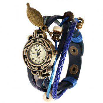 IELY Quartz Watch with 12 Numbers Indicate Leather Watch Band for Women - Blue