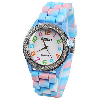 Geneva Quartz Watch 12 Arabic Number Indicate Rubber Watch Band for Women - Azure