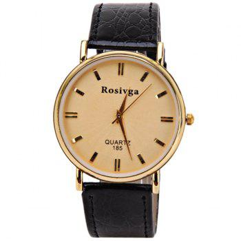 Rosivga Quartz Watch with Rectangles Indicate Leather Watch Band for Men - White -  GOLDEN