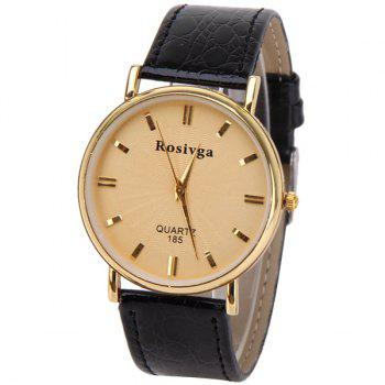 Rosivga Quartz Watch with Rectangles Indicate Leather Watch Band for Men - White - GOLDEN GOLDEN