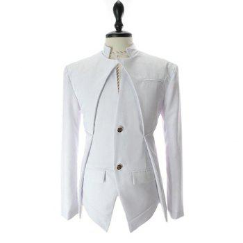 Korean Fashionable Style Asymmetric Design Solid Color Slimming Two Button Blazer For Men - WHITE WHITE