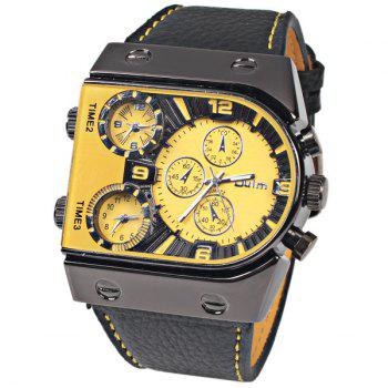 Oulm Multi-Function 3-Movt Quartz Leather Wristwatch Men Military Sports Watch - YELLOW YELLOW