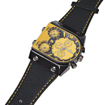 Oulm Multi-Function 3-Movt Quartz Leather Wristwatch Men Military Sports Watch -  YELLOW