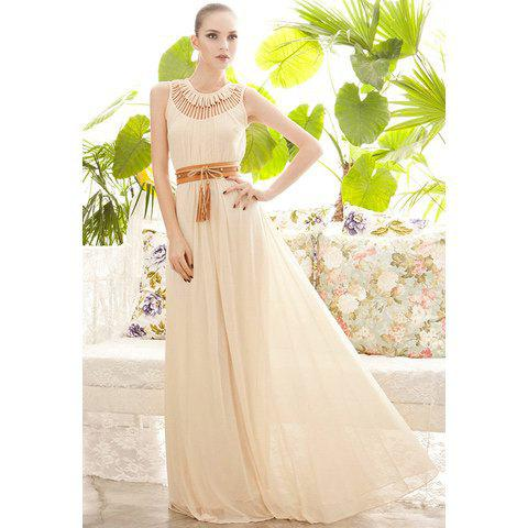 Casual Scoop Neck Openwork Drape Sleeveless Chiffon Dress For Women - APRICOT ONE SIZE