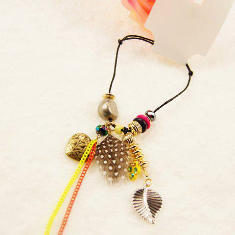 Elegant Style Heart Shape Pendant and Feather Decorated Chain Bracelet For Women - AS THE PICTURE