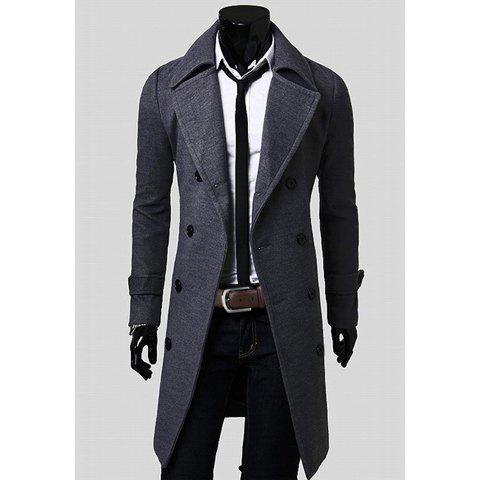 Fashionable Casual Style Long Sleeves Solid Color Slimming Double Breasted Coat For Men - GRAY 2XL