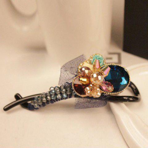 Exquisite Rhinestoned Rose and Lace Embellished Hairpin For Women - BLUE