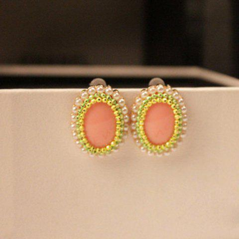 Pair of Faux Pearl Embellished Oval Earrings - PINK