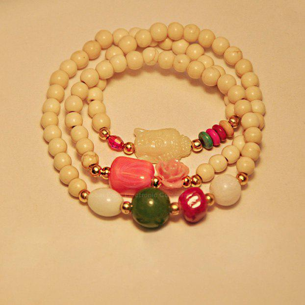 Elegant Rose Multi-Layered Beads Decorated Buddha Pendant Bracelet - WHITE