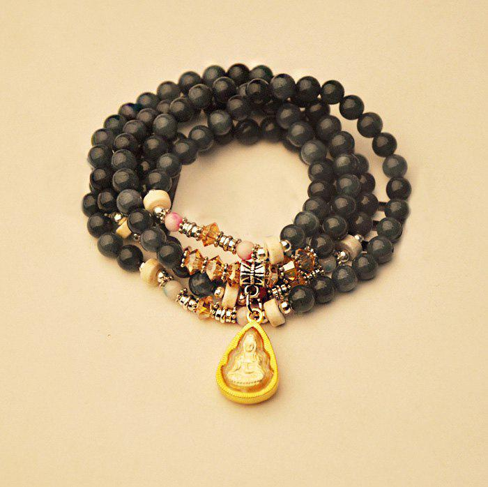 Ethnic Style Multi-Layered Beads Decorated Kwan-Yin Shape Bracelet - AS THE PICTURE