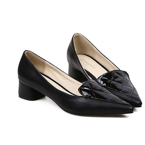 Stylish Checked and Pointed Toe Design Women's Flat Shoes - BLACK 39