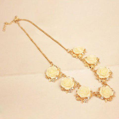 Bohemian Fresh Rhinestoned Various Rose Embellished Alloy Necklace For Women - CHECKED
